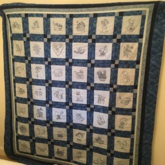 Blue stitch raffle quilt-sm